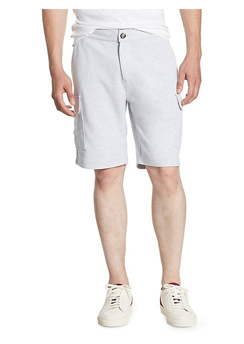 "Image of A cotton shorts with convenient cargo pockets. Banded waist. Zip fly with button closure. Side slash pockets. Front cargo pockets. Back flap pockets. Regular-fit. Rise, about 11"".Inseam, about 6"".Cotton. Machine wash. Made in Italy."
