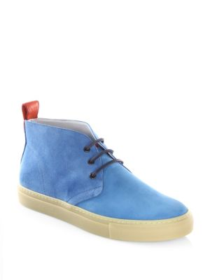 Image of High-top sneakers with textured finish design and back pull tab. Nabuk upper. Round toe. Lace-up vamp. Leather lining. Rubber sole. Made in Italy.
