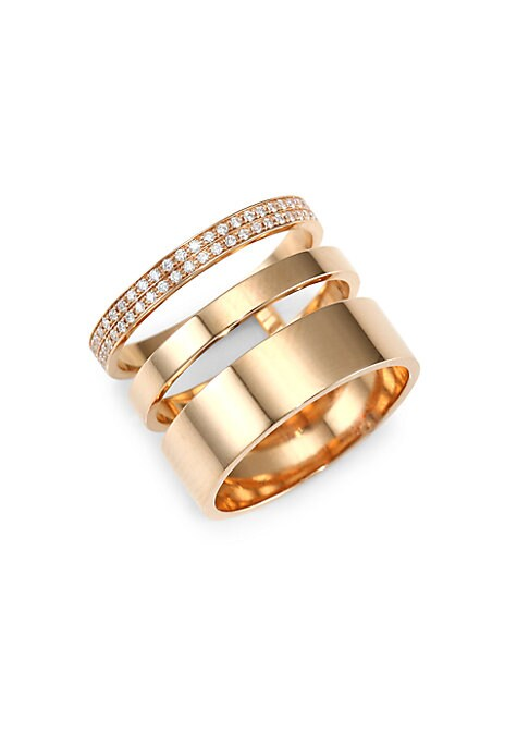 """Image of Artisan crafted three-row ring with elegant pave diamonds. Diamonds, 0.3 tcw.18K rose gold. Width, 0.62"""".Made in Italy."""