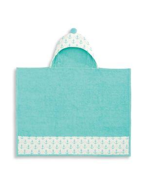 Babys Anchor Print Hooded Bath Wrap