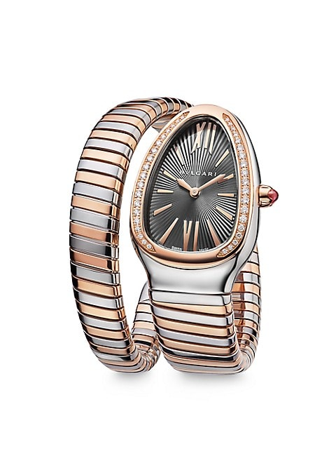 Serpenti Tubogas Rose Gold, Stainless Steel & Diamond Single Twist Watch