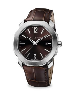 Image of A regal and elegant watch with genuine leather and sleek stainless steel. Water-resistant to 100 meters. Case diameter, 41MM. Stainless steel. Date window at 3 o'clock. Second hand. Leather band. Folding clasp. Made in Switzerland.