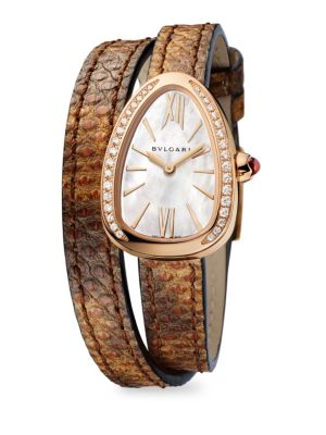 Image of Suitable for any occasion, this iconic collection exudes striking elegance. From the Serpenti Collection. Quartz movement. Water-resistant to 50 meters.0.03 tcw diamond-encrusted bezel.18K rose gold case; size, 27MM. Mother-of-pearl dial. Karung & calf le