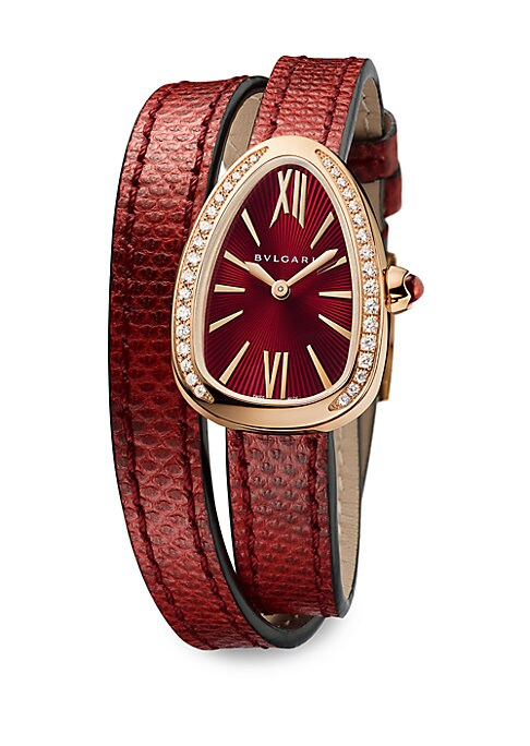 "Image of From the Serpenti Collection. Spiral watch with diamond accents. Quartz movement. Water-resistant to 50 meters. Curved 18K rose gold case, 27mm (1"").18K rose gold bezel with brilliant-cut diamonds, 0.03 tcw. Red lacquered dial with guilloche soleil treatm"