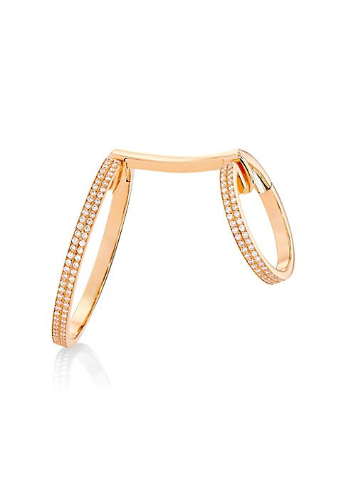 """Image of A single 18K rose gold earring dotted with shimmering diamonds for a modern and elegant look. Paved diamonds, 0.85 tcw. Diamond certification: GIA.18K rose gold. Made in Italy. SIZE. Length, about 0.75"""".Large hoop, about 1.25"""".Small hoop, about 0.75"""".Plea"""
