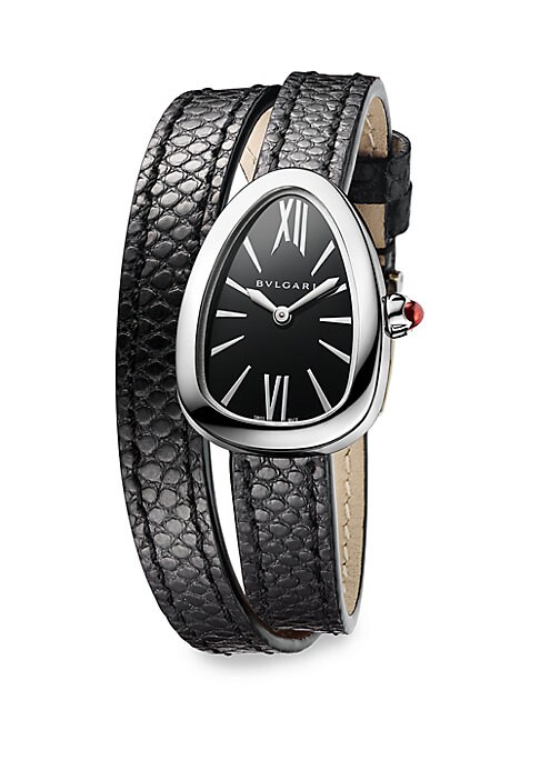 "Image of From the Serpenti Collection. Stainless steel watch with spiral karung leather strap. Quartz movement. Water resistant to 3 ATM. Curved stainless steel case, 27mm (1"").Black lacquered dial. Roman numeral and bar hour markers. Black double-spiral karung le"