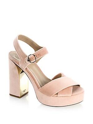 10dd86d2c11e19 Tory Burch - Loretta Velvet Platform Sandals - saks.com