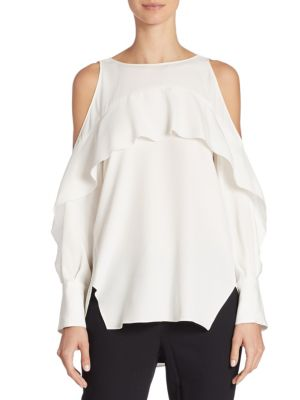 Cold-Shoulder Silk Blend Tunic by Halston Heritage