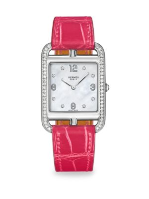 HERMÈS WATCHES Cape Cod Diamond, Mother-Of-Pearl & Leather Strap Watch in Raspberry