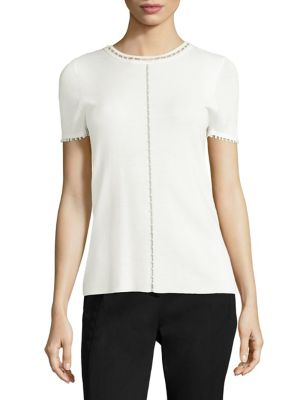 Embellished Long Sleeve Knit Top by Elie Tahari