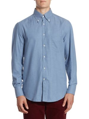 """Image of A regular fit button-down shirt in cotton fabric. Button-down point collar. Long sleeves. Buttoned barrel cuffs. Chest patch pocket. Basic-fit. About 26"""" from shoulder to hem. Cotton. Machine wash. Made in Italy."""