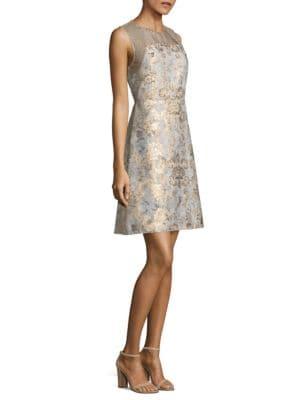 Floral Brocade A-Line Dress