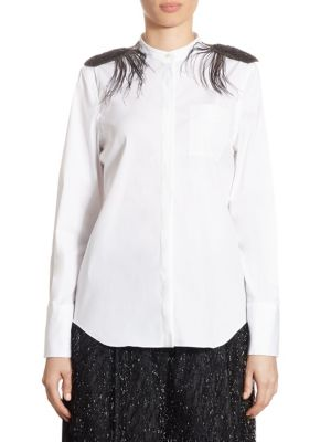 Cotton Poplin Feather Shirt by Brunello Cucinelli