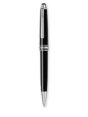 Image of Ballpoint pen with clip holder and debossed logo Resin Imported. Men Accessories - Luxury Collections. Montblanc. Color: Black.