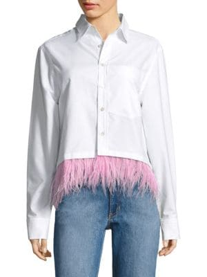 Feather-Trim Oxford Cotton Shirt by Opening Ceremony