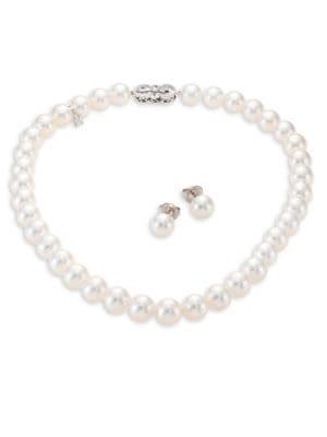 Mikimoto Ginza Diamond, 9MM White South Sea Pearl Stud Earrings & Necklace Set