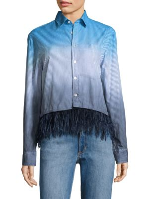 Feather-Trim Dip-Dye Oxford Cotton Shirt by Opening Ceremony