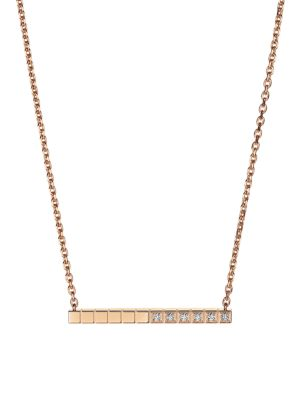 CHOPARD Ice Cube Diamond & 18K Rose Gold Pendant Necklace
