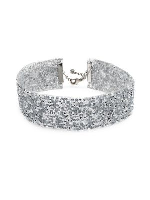 """Image of Wide glamorous choker with cone studs and crystals. Swarovski crystal. Oxidized silverplated brass. Length, 11"""" with 3"""" extender. Lobster clasp. Made in USA."""