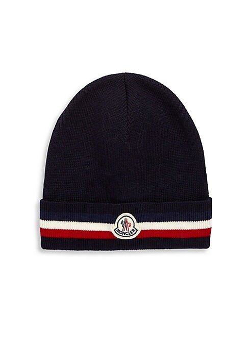 Image of Beanie with stripe-print and brand logo applique. Virgin wool. Made in Italy.