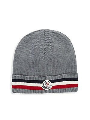 16910622951 Moncler - Striped Brim Virgin Wool Beanie - saks.com