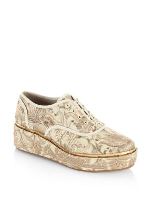 Image of .Platform oxfords with allover metallic details. .Nylon upper. .Round toe. .Lace-up vamp. .Ovine leather lining. .Rubber sole. .Imported. .