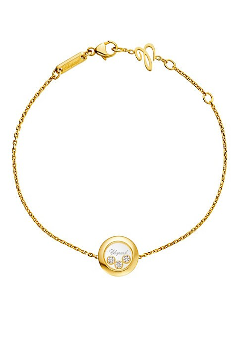 """Image of From the Happy Diamonds Collection. Yellow gold necklace with faceted diamond on pendant. Diamonds, 0.15 tcw.18K yellow gold. Length, 7"""".Lobster clasp. Imported."""