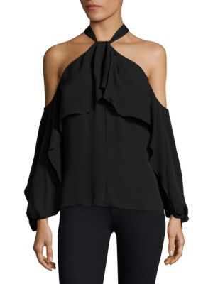 Adrienne Halterneck Silk Blouse by KOBI HALPERIN