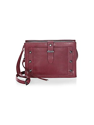 "Image of A sleek and versatile crossbody bag in smooth leather Adjustable crossbody strap, 25"" drop Magnetic snap closure Two snap compartments One zip-around compartment One inside zip pocket Two inside card slots Gunmetal-tone metal hardware Lined 10""W x 9""H x 1"