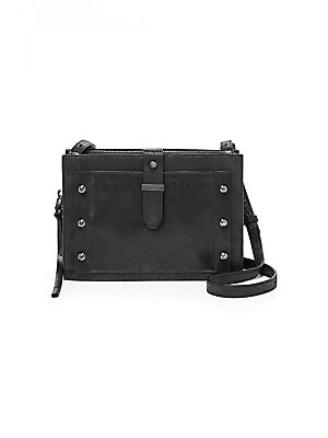 """Image of A sleek and versatile crossbody bag in smooth leather Adjustable crossbody strap, 25"""" drop Magnetic snap closure Two snap compartments One zip-around compartment One inside zip pocket Two inside card slots Gunmetal-tone metal hardware Lined 10""""W x 9""""H x 1"""
