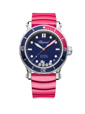 CHOPARD 40Mm Happy Ocean Sport Medium Watch With Diamonds, Blue/Red in Pink