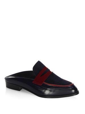 Image of Allan Leather Penny Loafer Slides