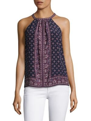 Bradie Sleeveless Printed Silk Blouse by Joie
