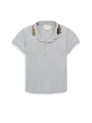 Image of Cotton-blend polo with bright collar design. Short sleeves. Two-button placket. Cotton/spandex. Machine wash. Made in Italy.