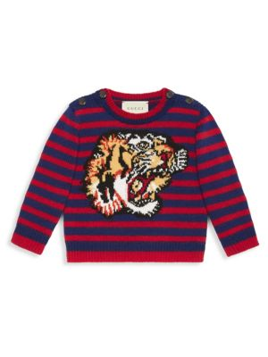 Image of Red and blue striped merino wool with tiger intarsia. Crewneck. Horn button closure at the shoulders. Wool. Machine wash. Made in Italy.