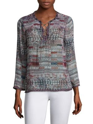 Ailana Lace-Up Tile-Print Silk Blouse by Joie