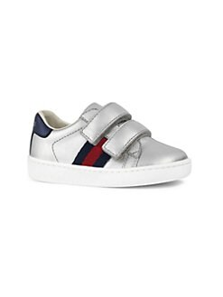 2cf19c0f518 Gucci. Baby s   Toddler s Web-Trim Metallic Leather Sneakers