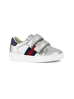 07bd544f7f5 Gucci - Baby s  amp  Toddler s Web-Trim Metallic Leather Sneakers