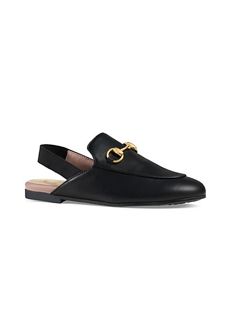Image of Black leather upper. Elasticized slingback strap. Goldtone horsebit detial. Rubber sole. Made in Italy.