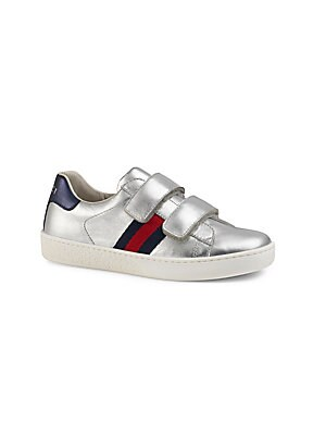 52256579132 Gucci - Kid s Web-Trim Metallic Leather Sneakers