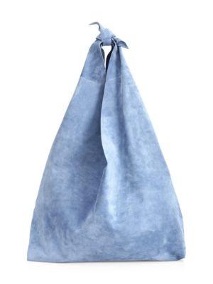Bindle Knot Suede Hobo Bag, Baby Blue