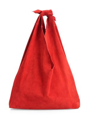 Bindle Knot Suede Hobo Bag, Magenta