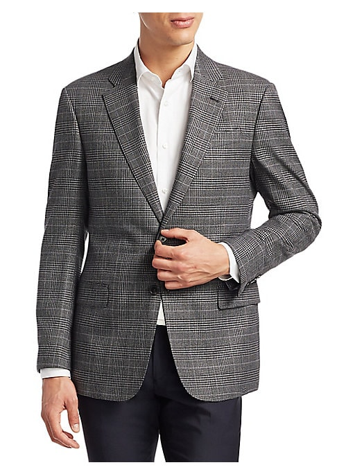 "Image of A modern silhouette updates a classic plaid wool sportcoat. Notch lapels. Long sleeves. Button front. About 29"" from shoulder to hem. Wool. Dry clean. Imported."