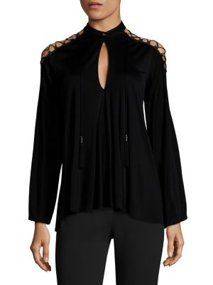 Lace-Up Keyhole Blouse by Versace Collection