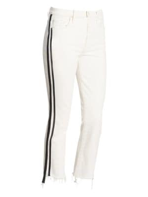 Insider Crop Step-Fray Straight-Legs Jeans W/ Racing Stripes, Whipping The Racer