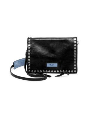 Small Studded Glace Etiquette Leather Shoulder Bag, Nero