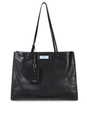 Small Glace Calf Etiquette Shopper in Black