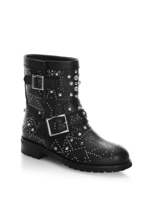 Youth Embellished Leather Ankle Boots, Black