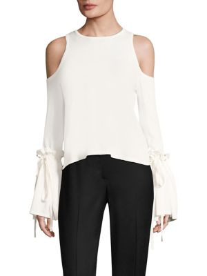 Cold Shoulder Tie Top by MILLY