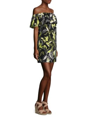 "Image of Shoulder-baring floral dress in airy stretch cotton. Off-the-shoulder neckline. Short sleeves. Pullover style. About 34"" from shoulder to hem. Cotton/spandex. Dry clean. Imported. Model shown is 5'10"" (177cm) wearing size Small."